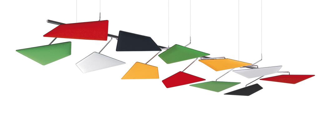 Akustik Deckensegel, Caimi Flap, Design Deckensegel, Akustikpaneel, Akustik Deckenlampe, Schöne Akustiksegel, Caimi Deutschland, Caimi München
